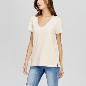Tops - NWT Faux Suede Cream Short Sleeve V-neck Top